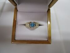 GORGEOUS ESTATE 14 KT GOLD 1.30 CTW. VIVID GREEN BLUE DIAMOND RING 4.5 GRAMS !!!