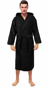 Men's Turkish Terry Cloth Robe, Thick Hooded Bathrobe Black Large