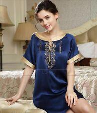 Women Silk Satin Pajamas Sleepshirt Nightdress Lingerie Sleepwear__For XMAS Gift