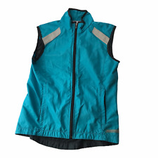 SUGOI Cycling Vest Zippered Reflective Silver Turquoise Blue Women's XS TP