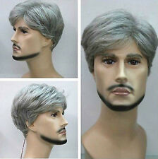 COS Handsome Adultness Men's Silver Gray Short Cosplay Hair Wig + Free Wigs Cap