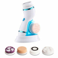 3D Sonic Electric Facial Cleansing Brush Face Scrubber 4Brush Heads Changeable