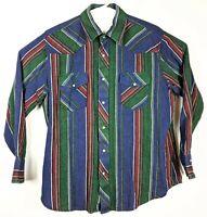 Wrangler Mens Sz XL Western Flannel Lightweight Stripe Shirt Rainbow Green L/S
