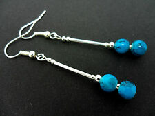 A PAIR DANGLY BLUE TURQUOISE GLASS BEAD SILVER PLATED EARRINGS. NEW