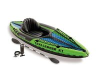 New Intex One Person Challenger K1 Inflatable Kayak Kit with Oars & Pump 68305EP