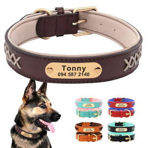 PU Leather Dog Collar Personalised Pet Name ID Tag Soft Padded Braid Design S-XL