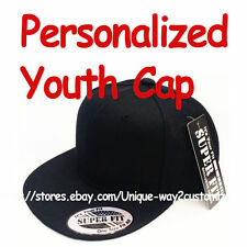 Personalized Kids Youth Snapback Snap Back Cap Hat ***BLACK***