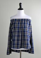 ANTHROPOLOGIE $88 Cloth & Stone Off The Shoulder Plaid Shirt Top Size Medium