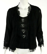 CHANEL 06P Black Heart Pattern Knit Lace Trimmed Cardigan Twinset 40