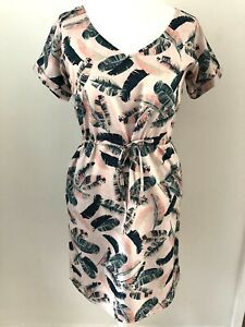 Mountain Warehouse Shift Dress Size 12 Pink Green Palm Leaves Tie Waist Pockets