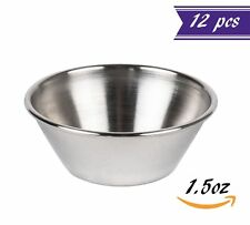 (12 Pack) 1.5 oz Sauce Cups, Stainless Steel Condiment Cups/Portion Cups