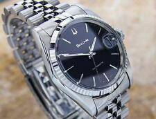 Bulova Seville Swiss Automatic Stainless Steel Mens Vintage Watch 1980's