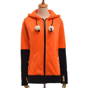Orange Animal Cosplay Hoodie Coat Warm Fox Ear Contrast Color Sweatshirt Unisex