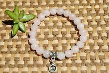 Rose Quart Bracelet + Peace Sign Charm ~ Natural 8mm Gemstone Beads ~ Chakra
