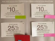 4 Macy's Star Rewards: a 25% off (15% on some); a $10 off $30 purchase, 11/30/20