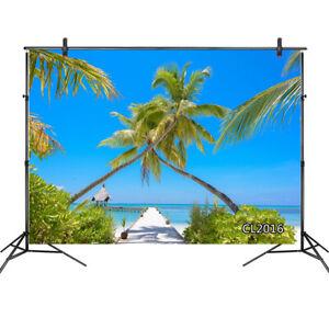 Seaside Beach Trestle Palm Trees Blue Sky 10x8FT Vinyl Backdrop Photo Background