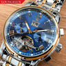 Mens Open Heart Exhibition Automatic Mechanical Month Date Day Wrist Watch