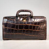 Vintage Upjohn Medical Cowhide Leather Moc Croc Genuine Doctors Medical Bag