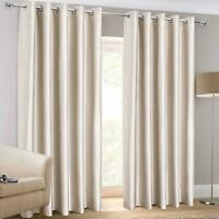 Gold Eyelet Curtains Faux Silk Plain Ready Made Ring Top Lined Curtain Pairs