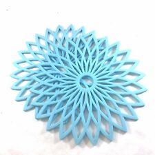 Lot of 2 Multi-Purpose Blue Flower Shaped Silicone Trivet & Hot Pad 7-3/4 Inch