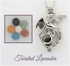 Majestic Dragon Aromatherapy Essential Oil Necklace Diffuser with 6 lava stones!
