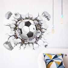 Football Wall Stickers Kids Boy Room 3D Broken Wall Decal Soccer Fan Sticker