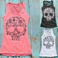 Women Sexy Skull Print Lace Back Sleeveless Plus Size Summer Tank Top Steady