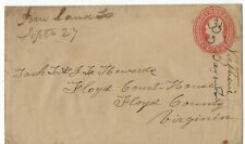 ca. 1860 Pine Land Tennessee Manuscript U4 Nesbitt Postal Stationery to Floyd CH