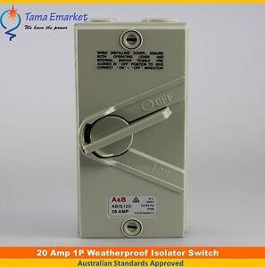 20 Amp Single Phase Weatherproof Electric Isolator Switch IP66 1 Pole Isolating