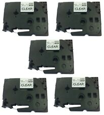 5 PK Black on Clear Label Tape for Brother TZ-131 TZe131 P-Touch 12mm 26ft.