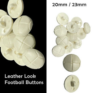 20/23mm White Leather Football Quality Shank Buttons Knitting Sewing Crafts