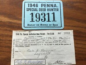 Pa 1946 Special Deer Susquehanna County Hunting Licenses