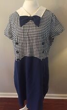 Myrtlewood Modcloth Vintage Dress 2X Blue Plaid Rockabilly Pin Up 50s 60s Womens