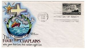 #956 Four Chaplains Dorothy Knapp Hand Painted 1948 First Day Cover