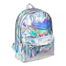 Blue Banana Silver Holographic Backpack, Unisex Shiny Hologram School Rucksack