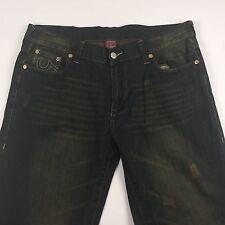 True Religion Joey Big T Embroidered Denim Blue Jeans Mens 40x33 Hip Hop