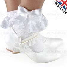 Zapatos de chicas Comunión Mary Jane Patente Blanca Boda Flores Niña Zapatos UK8-2