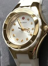 NWT MICHELE Tahitian Jelly Bean Topaz White & Gold Swiss Watch MWW12P000013 $345