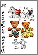 Vintage Simplicity Stuffed Animal Dog Bear Fabric material Sewing Pattern # 1149