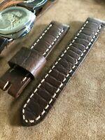 Horween Alligator Leather Handmade Men watch strap 22mm Brown Band SS Buckle