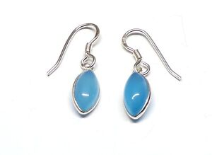 Handmade 925 Sterling Silver Blue Chalcedony Marquise Drop Earrings 29 x 7mm Bag
