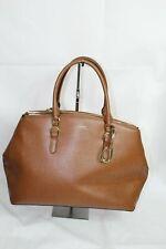 Ralph Lauren Bennington Double Zip Leather Medium Satchel Brown Womens Handbag