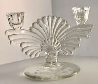 Vintage Art Deco Style Paden City Glass Clear Double Candle Holder Maya Pattern