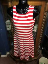 EBZA WOMENS SMALL  DRESS TANK STYLE RED & WHITE STRIPES NEW WITH TAGS