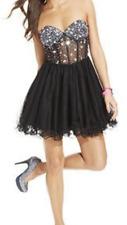 sz 11  Blondie Nights MERRY WIDOW RHINESTONE TULLE CLUB COCKTAIL STRAPLESS DRESS