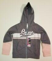 GIRLS HOODIE LOVE XS  Grey Pink Jogger Athletic Works NWT SHIPS FAST