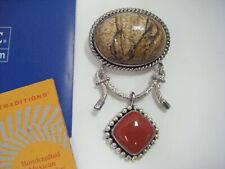 Designer Suarti Bali BA 925 Sterling Silver Large Jasper & Carnelian Stone Pend