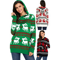 Cute christmas reindeer knit hooded sweater womens jumper winter animal regular