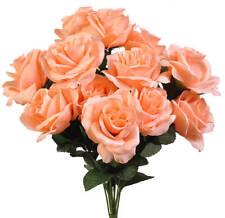 12 Peach Long Stem Open Roses ~ Silk Wedding Flowers Bridal Bouquets Decorations
