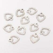 10 Textured Open Heart Charms Antique Silver Tone Love Pendants 11mm